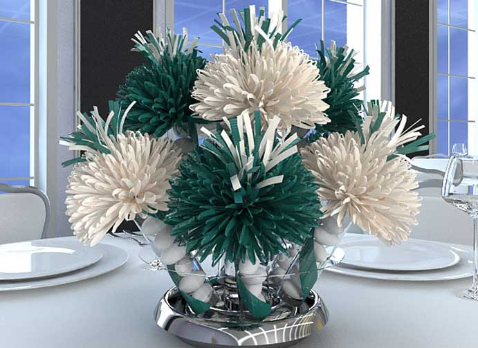 Green and White Birthday Centerpieces