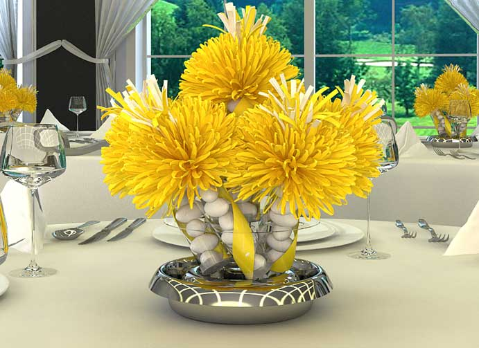 Yellow 30th Birthday Centerpiece