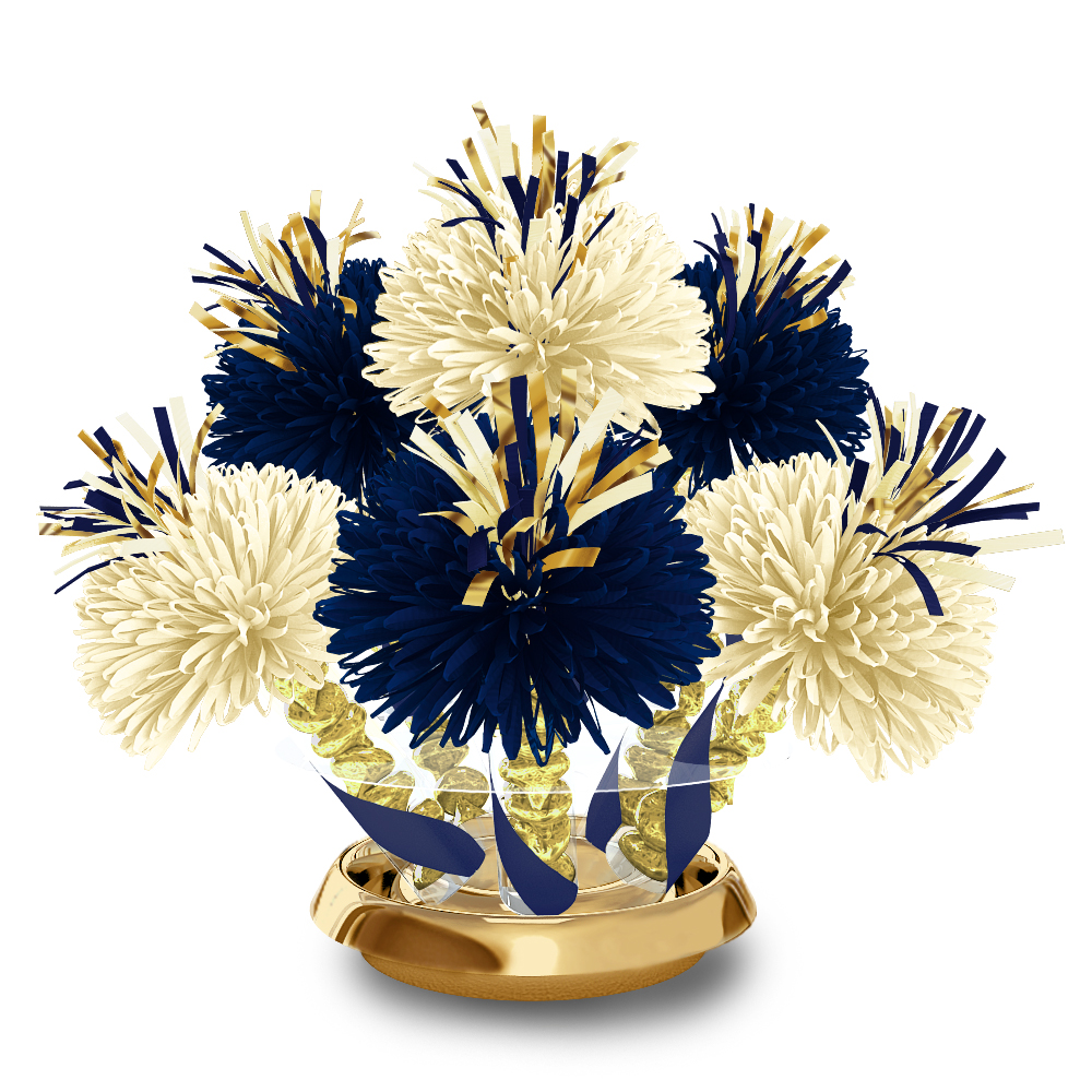 Navy and ivory centerpiece with gold kiss candy wanderfuls