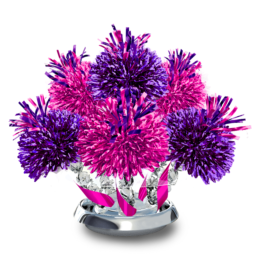 Metallic purple and hot pink centerpiece with