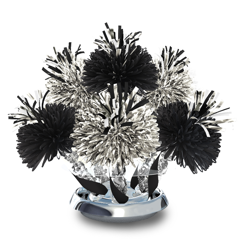 Metallic silver and black centerpiece with foil