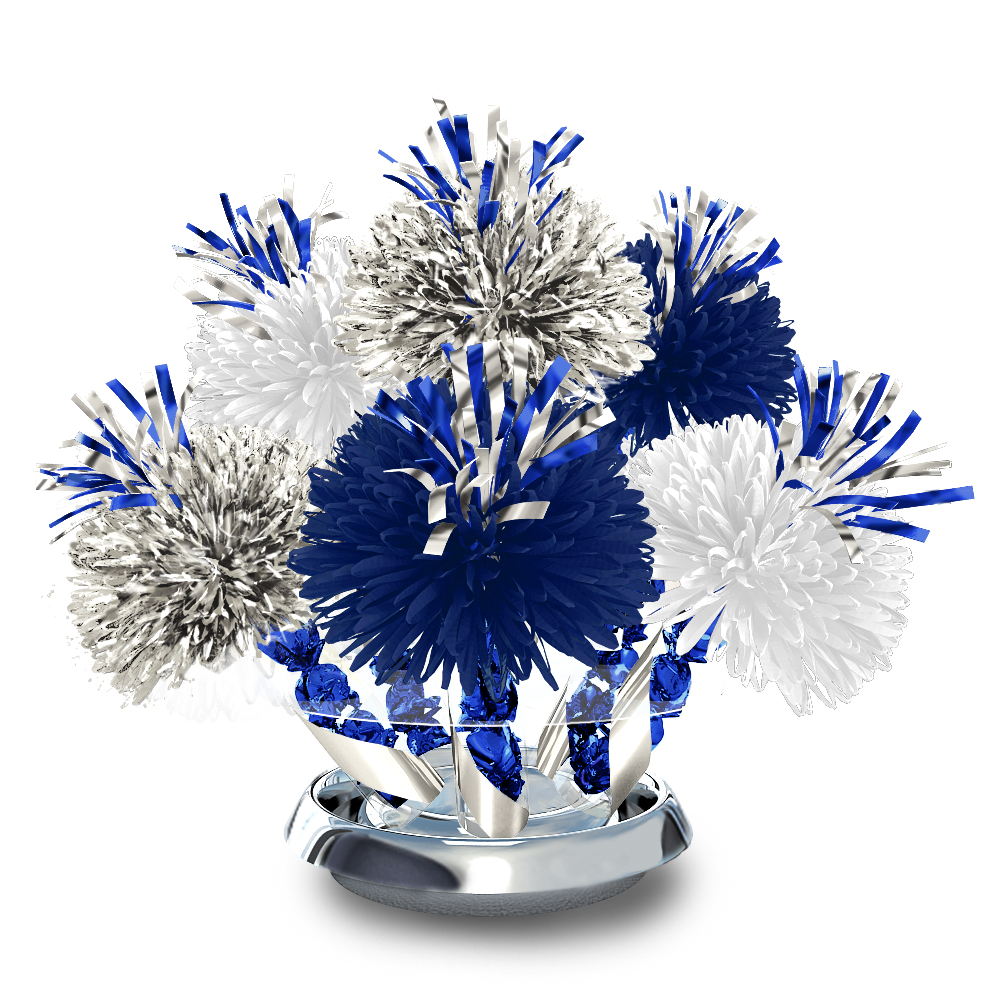 Metallic silver royal blue and white centerpiece with