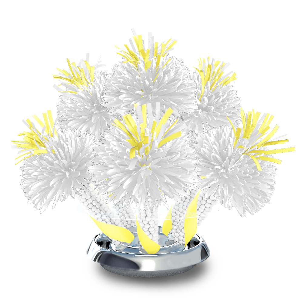 White centerpiece with light yellow accents and
