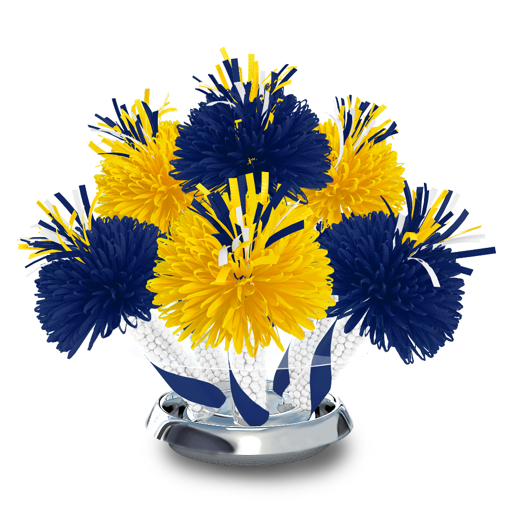 daffodil yellow and royal blue centerpiece with white mints wanderfuls rh wanderfuls com Royal Blue and Gold Table Decorations Pink and Purple Centerpieces