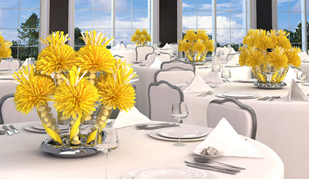 Yellow Centerpiece and party favors
