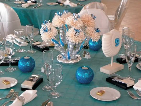 Blue And White Decorations party favors and centerpieces; wedding favors and decorations for