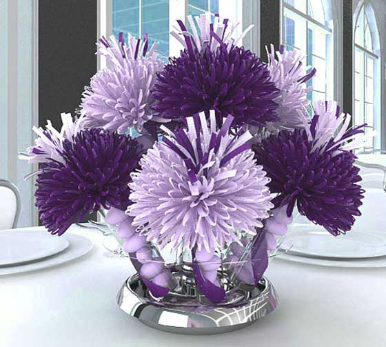 Dark And Light Purple Centerpiece For Denise's Christening Party.