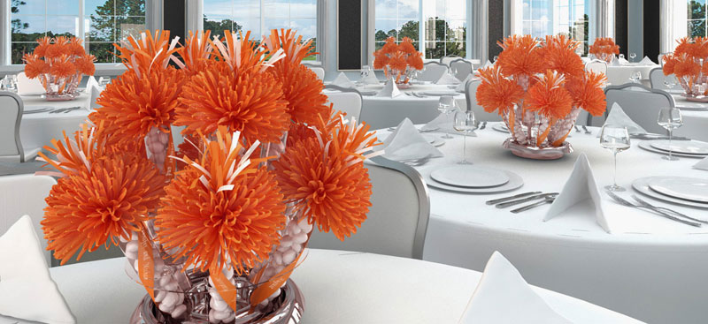 Fun And Bright Orange And White Centerpieces For Tex's Retirement Party.