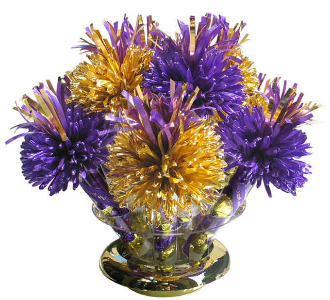 Gold And Purple Wanderfuls Centerpiece For Kelly's Quinceanera.