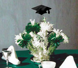 Green And White Graduation Themed Centerpiece By Wanderful's For Merissa's College Graduation Party.
