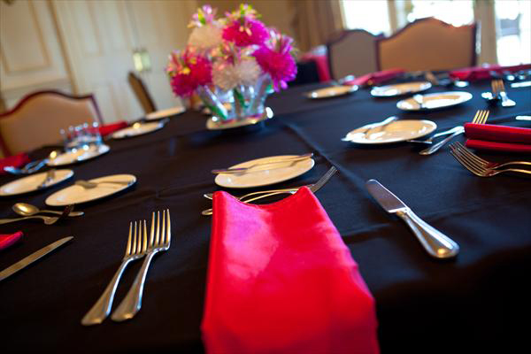 Laura & Billy's Wedding Reception Table Setting With Pink Wanderfuls Centerpieces.