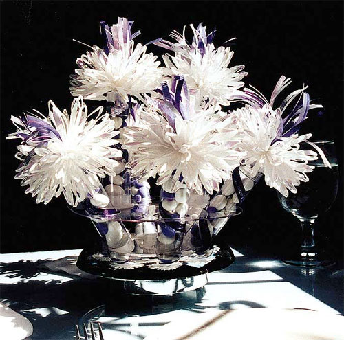 Lavender And White Bridal Centerpiece.