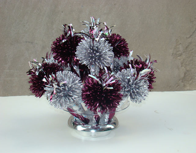 Metallic Silver And Maroon Centerpiece Designed By Wanderfuls For Nina's Retirement Party.