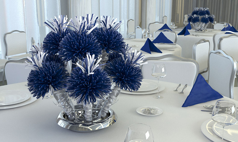 Navy Blue And White Wanderfuls Centerpiece For Katy's Graduation Party.
