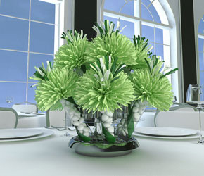 Soft Green And White Centerpiece For Celine And Bob's 20th Anniversary Party.