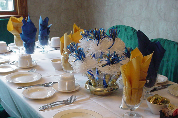 Valerie's Blue And Yellow 10th Year Class Reunion Centerpieces.