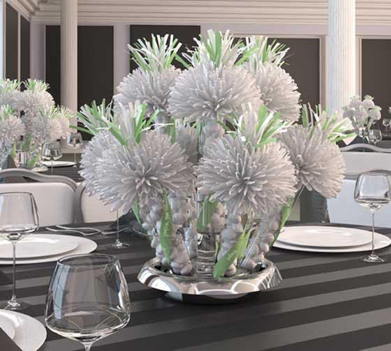White And Light Green Bridal Centerpiece For Tim And Joan's Winter Wedding.