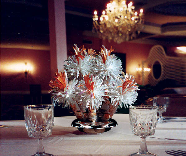 White And Orange Centerpieces By Wanderfuls For Joan And Shaun's Anniversary Party.