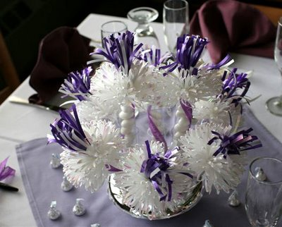 White And Purple Centerpiece For Tammy's Baby Shower.