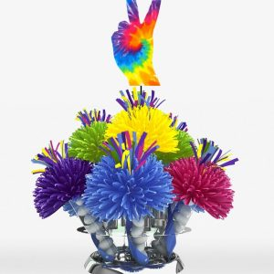 Hippie Tie-Dyed Peace Fingers Centerpiece